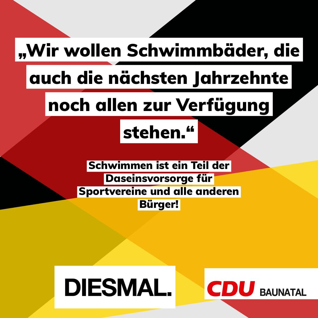 Landratskandidat Andreas Mock setzt sich mit der CDU-Baunatal für den Erhalt des Sportbades ein.
